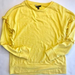Tresics Luxe Yellow Ruffle Sweatshirt Size Small